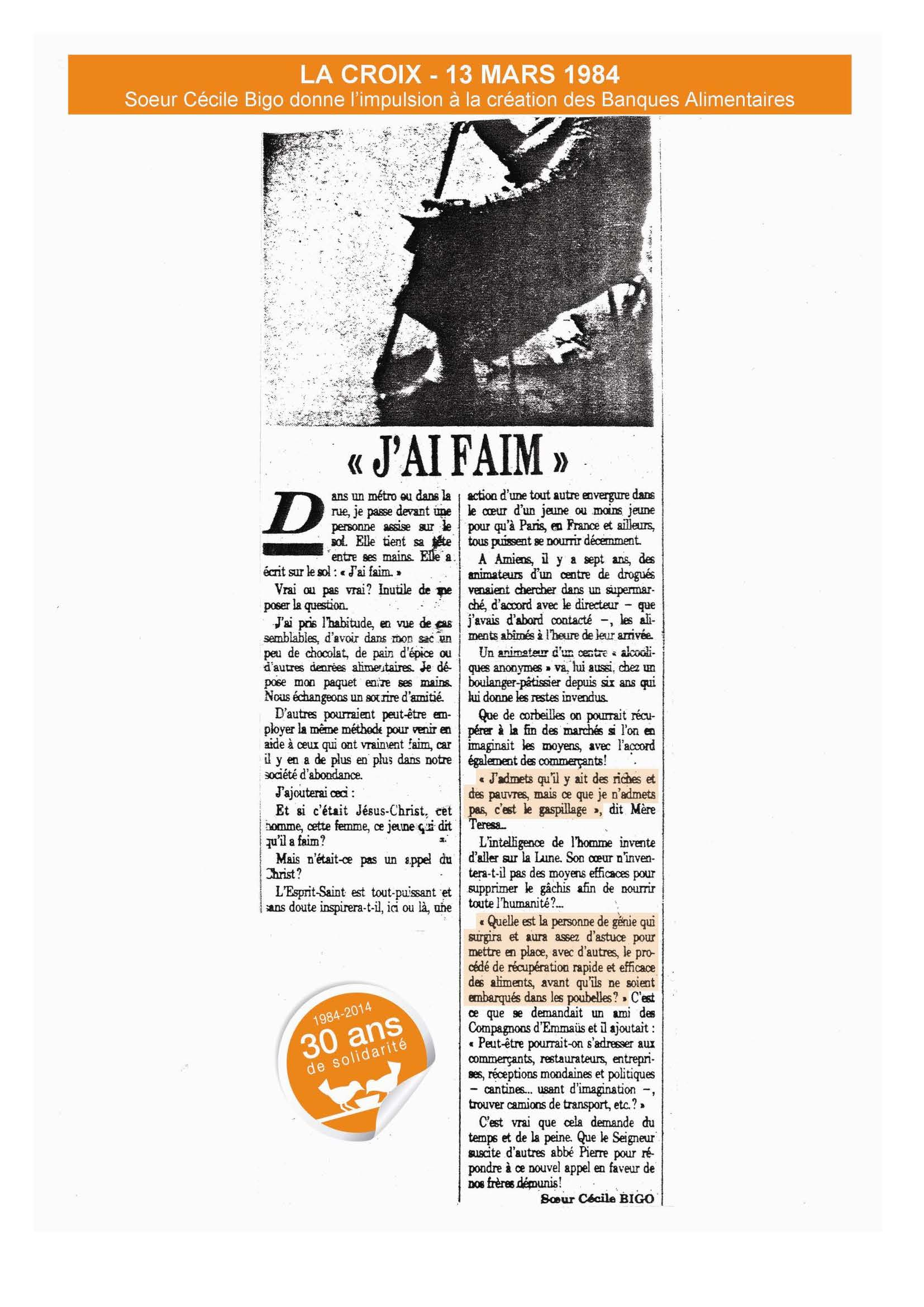 "Article ""j'ai faim"""